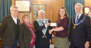 The Lodge of Unity, Warwick presents a cheque to Guys Gift.