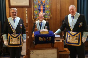 Left to Right: W. Bro Peter Round, W. Bro Roger Green and W. Bro David Perkins