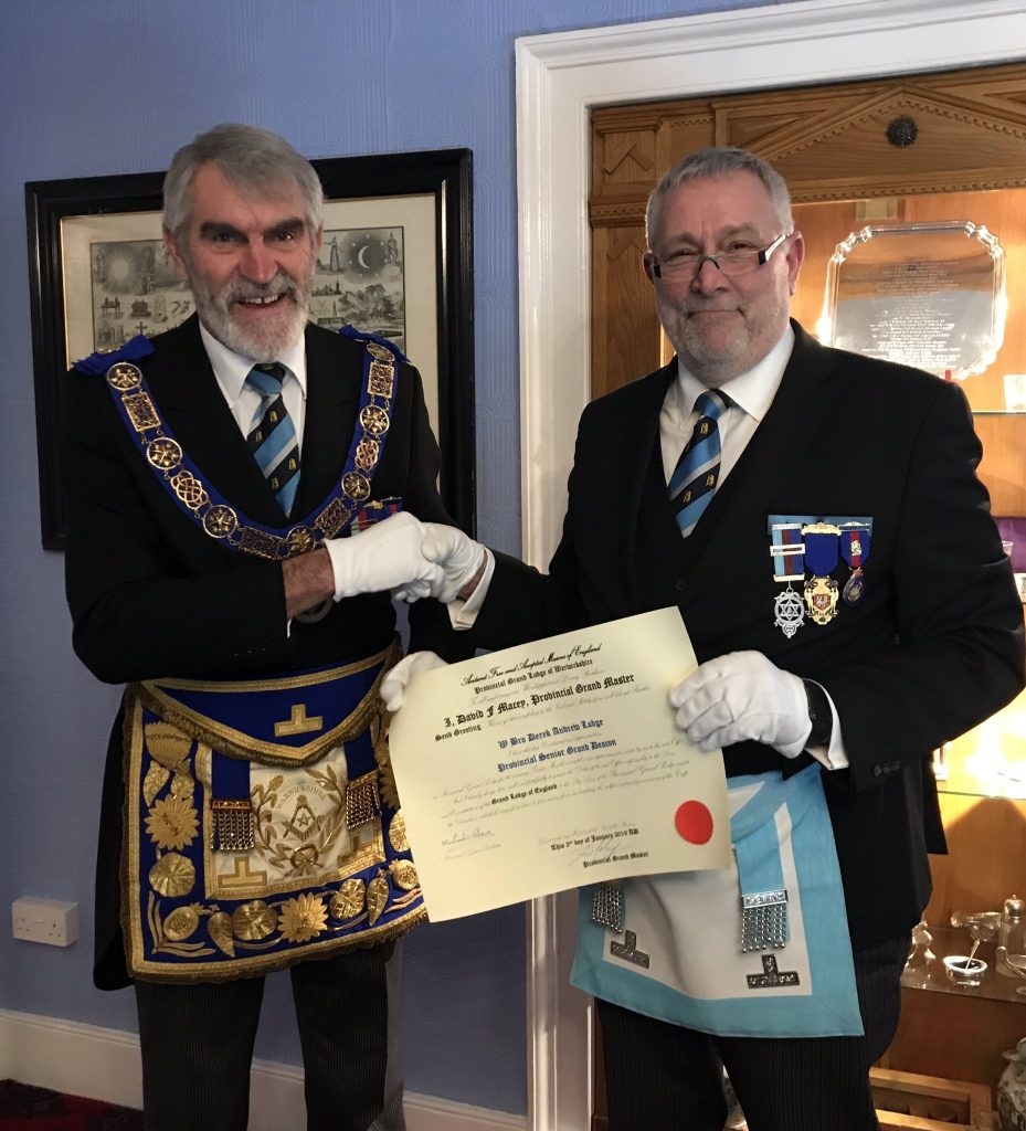 The Provincial Grand Master of Warwickshire, R.W. Bro. David F. Macey promoted W.Bro. Derek Lodge.