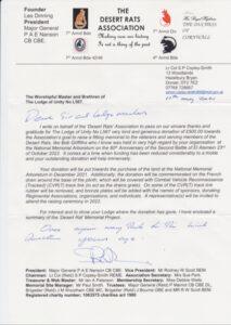 Desert Rats donation letter