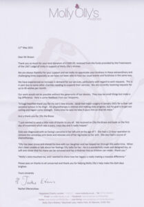 Molly Olly's donation letter
